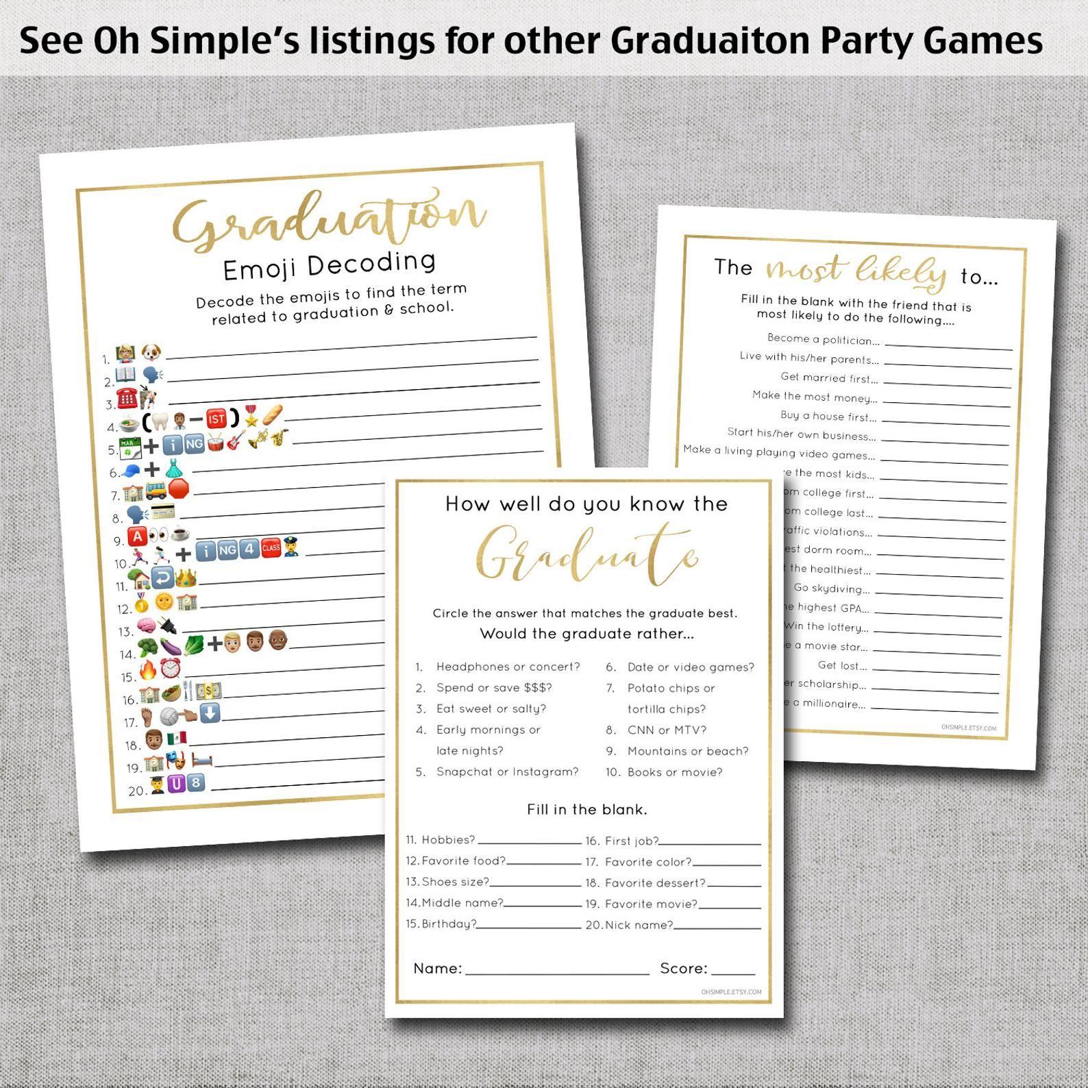 Graduation Games Graduation Party Decorations Emoji Etsy In 2020 Graduation Party Games Graduation Games Graduation Party Decor