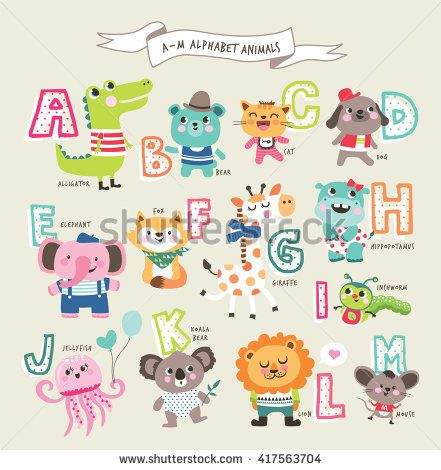 Cute Cartoon Animals Alphabet From A To M Animal Alphabet Cute Cartoon Animals Cartoon Animals