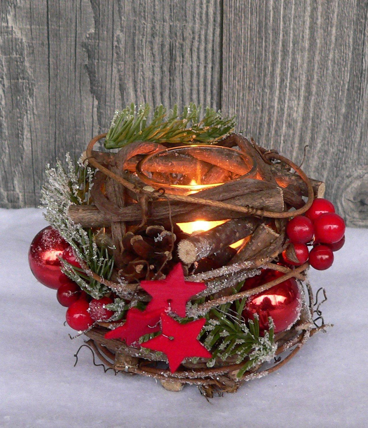 Holzkranz tischdeko windlicht advent adventskranz weihnachten holz glas rot gr n weihnachts - Holzkranz dekorieren ...