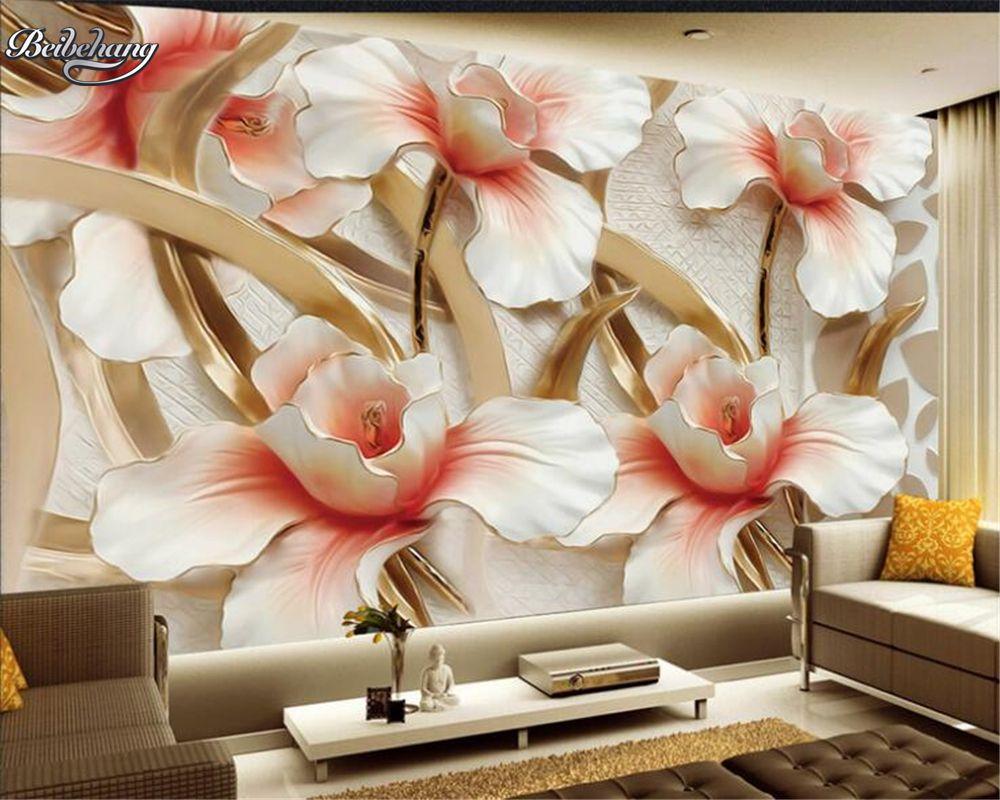 Beibehang 3D Wallpaper Relief Flower Wallpaper