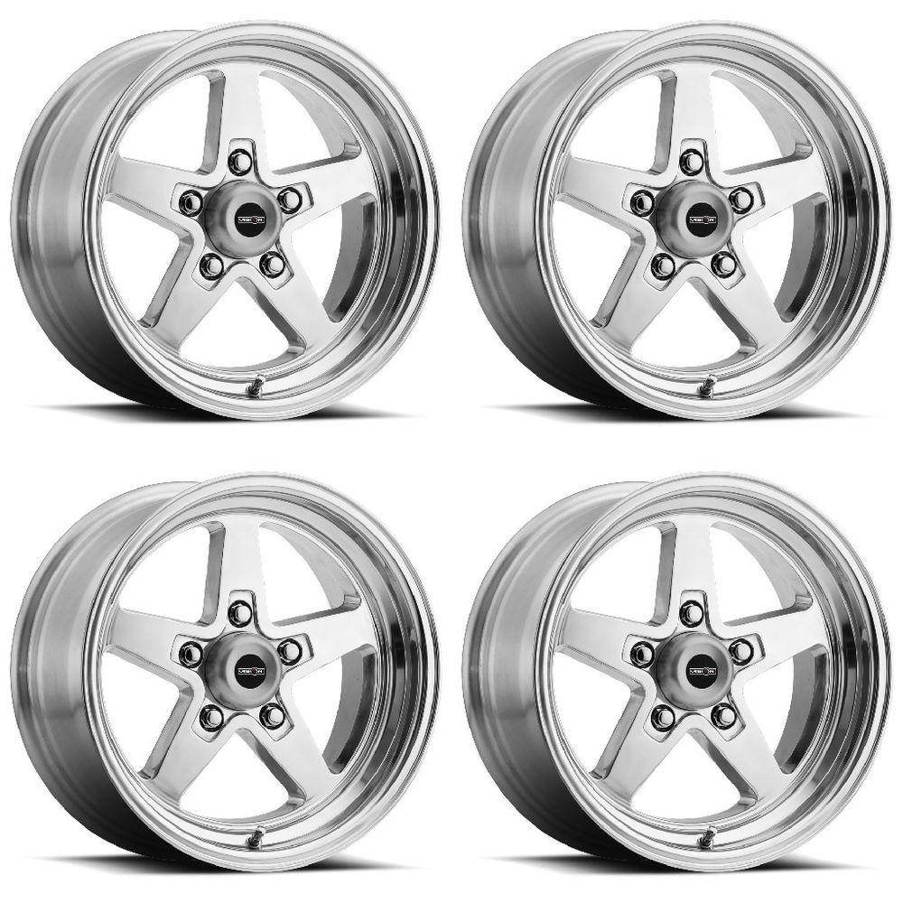 "Set 4 15"" Vision 571 Sport Star II Polished Wheels 15x8"