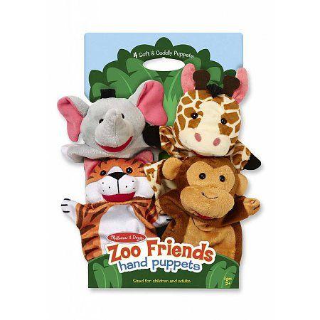 Melissa & Doug poppenkastpoppen set van 4 safari dieren