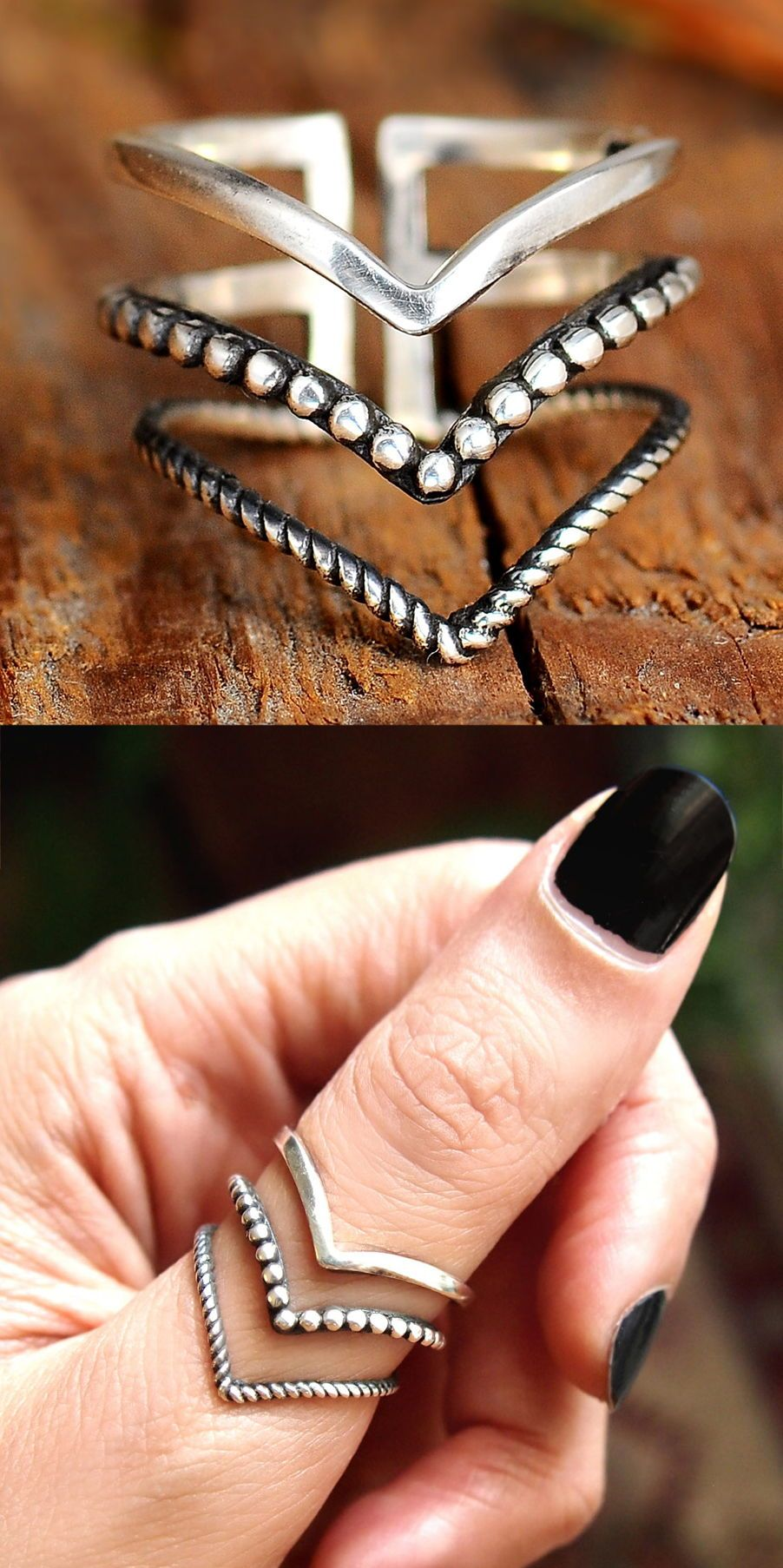 chevron ring Thumb rings adjustable ring long ring sterling silver rings for women boho rings bohemian jewelry geometric jewelry triangle ring handmade silver jewelry bea...