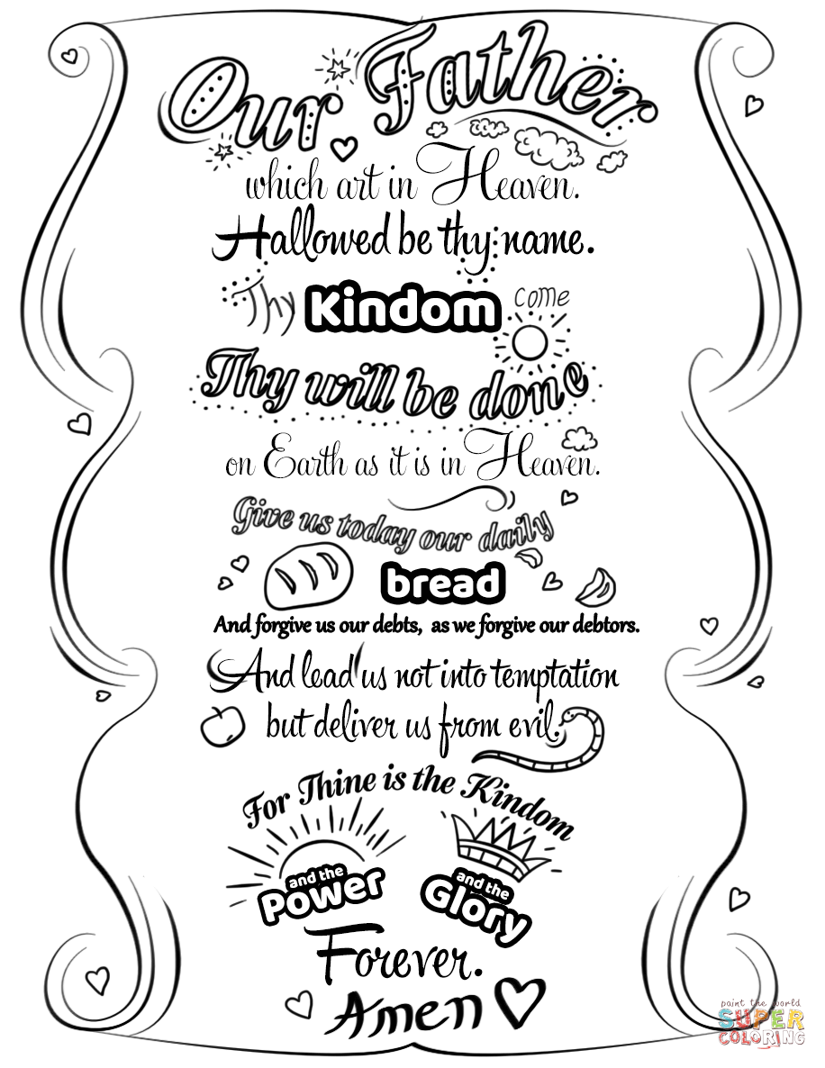 Click the Lord's Prayer Doodle coloring pages to view