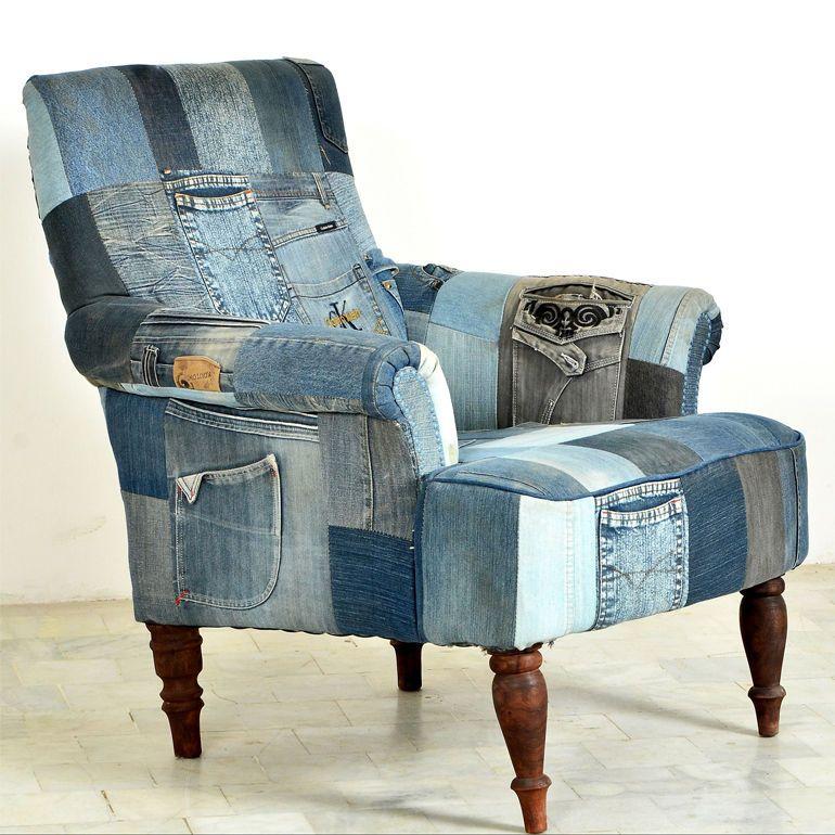 Attraktiv Sessel Relaxsessel Fernsehsessel Indigo Patchwork Jeans Groß Klein Modern  NEU