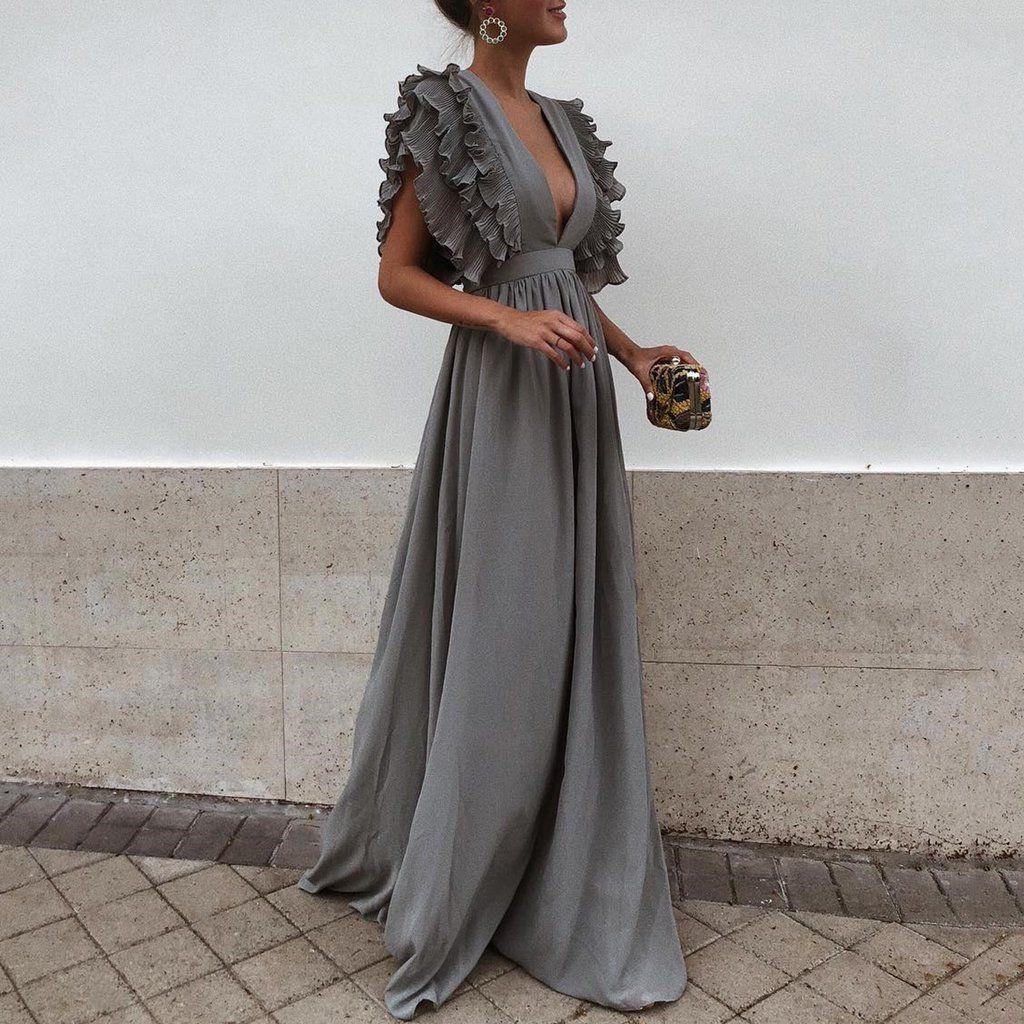 V Neck Halter Solid Color Dress Maxi Dress With Sleeves Maxi Dress Evening Maxi Dress [ 1024 x 1024 Pixel ]