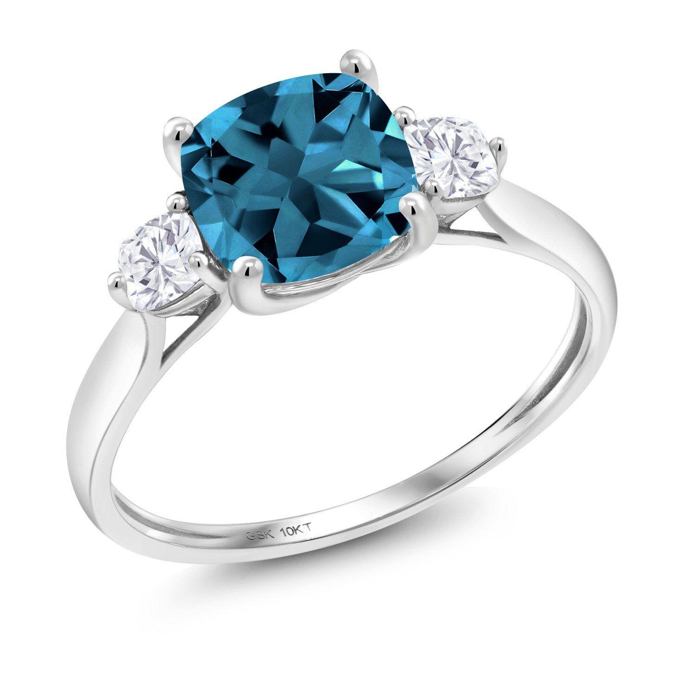 925 Sterling Silver Wedding Engagement Ring 0.26 ct Genuine Blue /& White Diamond