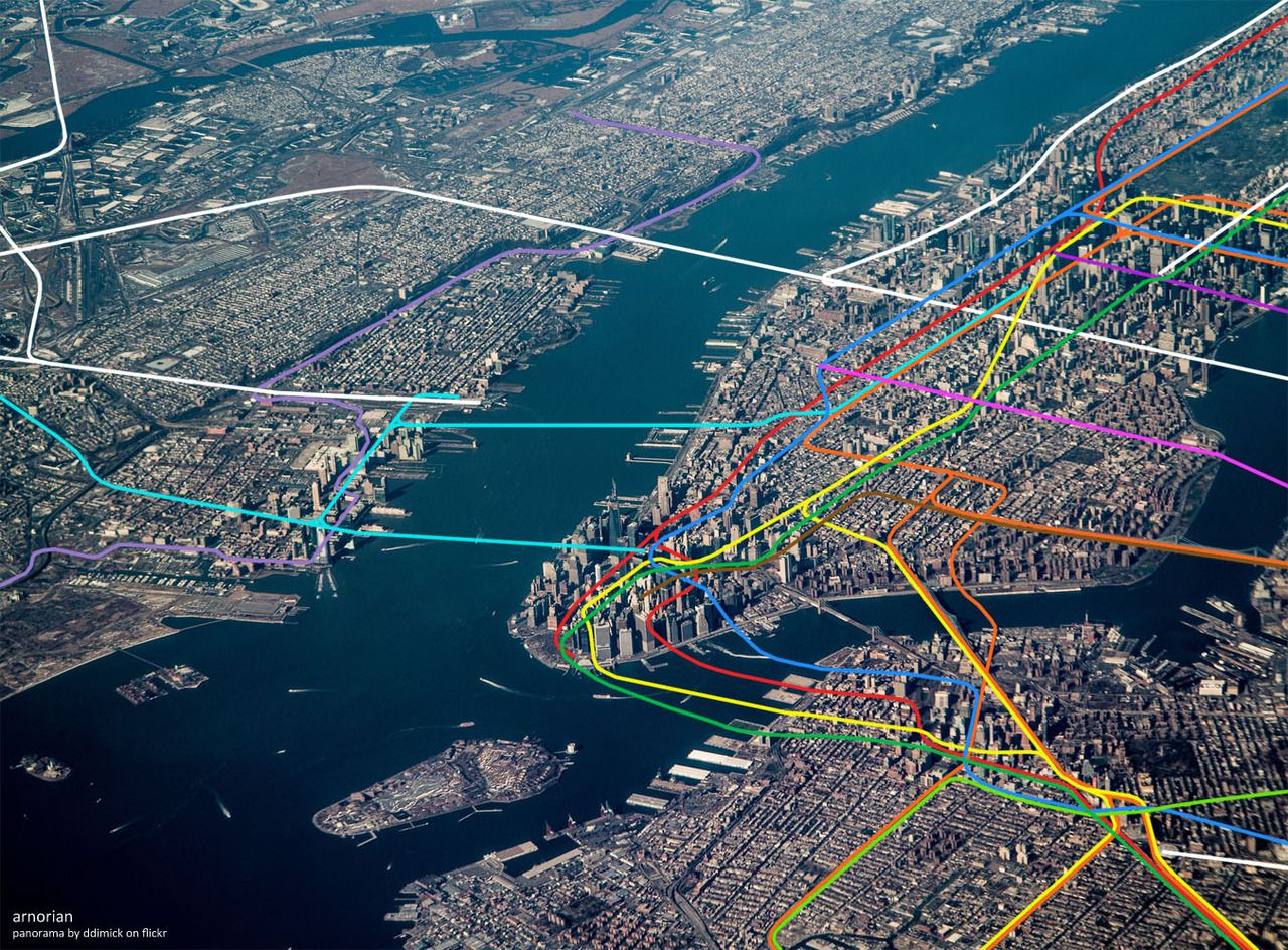 See NYCs Subway Lines Superimposed Over An Aerial Photo Of The City - Nyc subway map j train