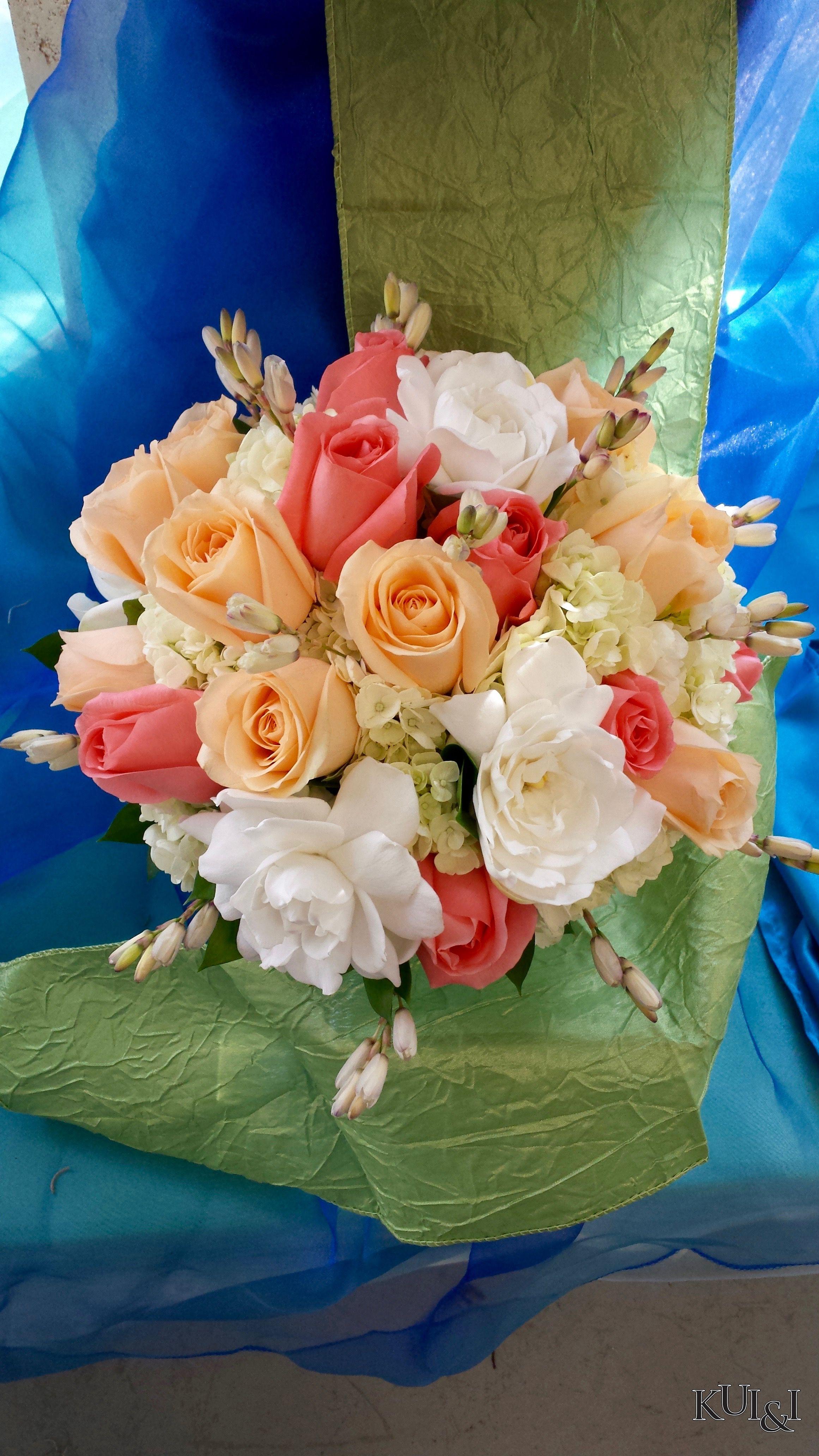 Peach Wedding Bouquet Kui I Florist Llc Hilo Hawaii