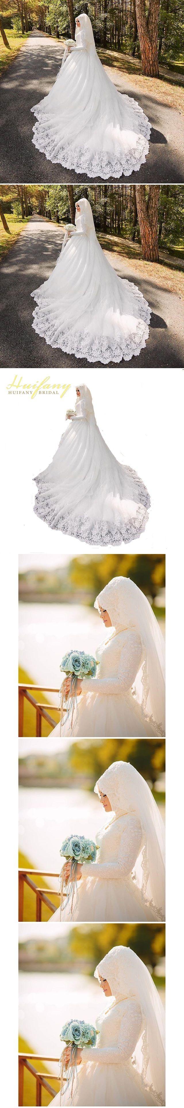 Arabic Muslim Beautiful Long Sleeve Hijab Wedding Dress with Veil Lace  Applique Vestido De Noiva 18b73570bdd1