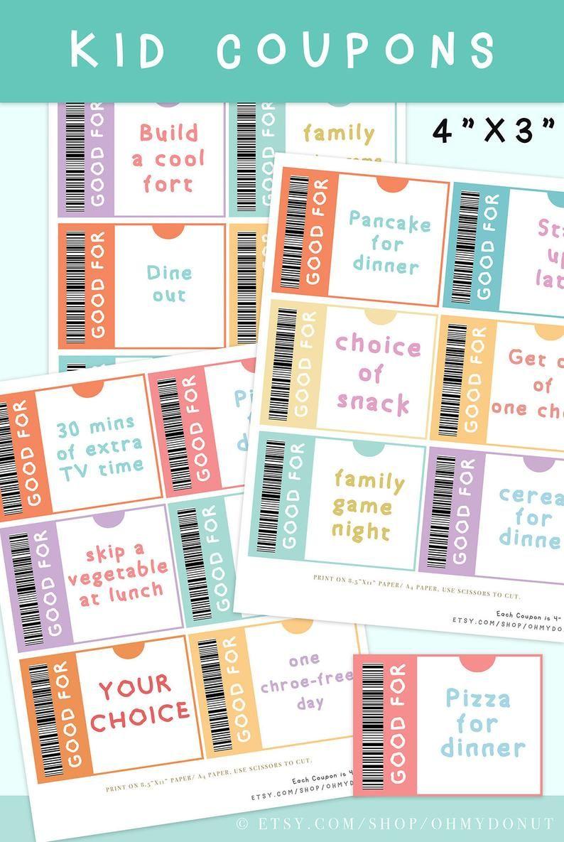 Kids reward coupon 3x4 kid coupons kid coupon etsy in