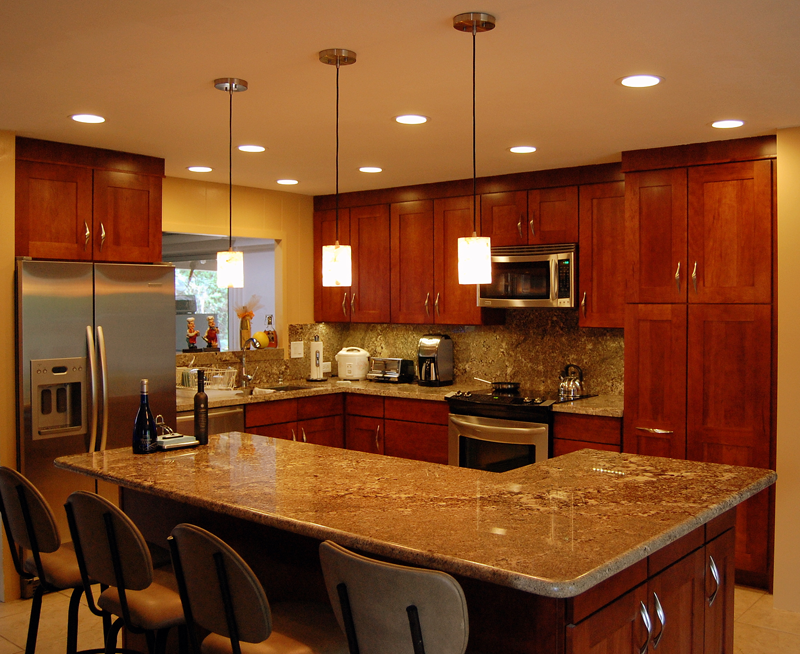 Best Kitchen Cherry Cabinets Light Floor Grey Brown Granite 640 x 480