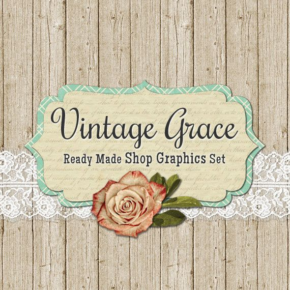 shabby vintage banners icon avatars business card logo label more ready made etsy graphics 13 premade files vintage grace new 4 pinterest