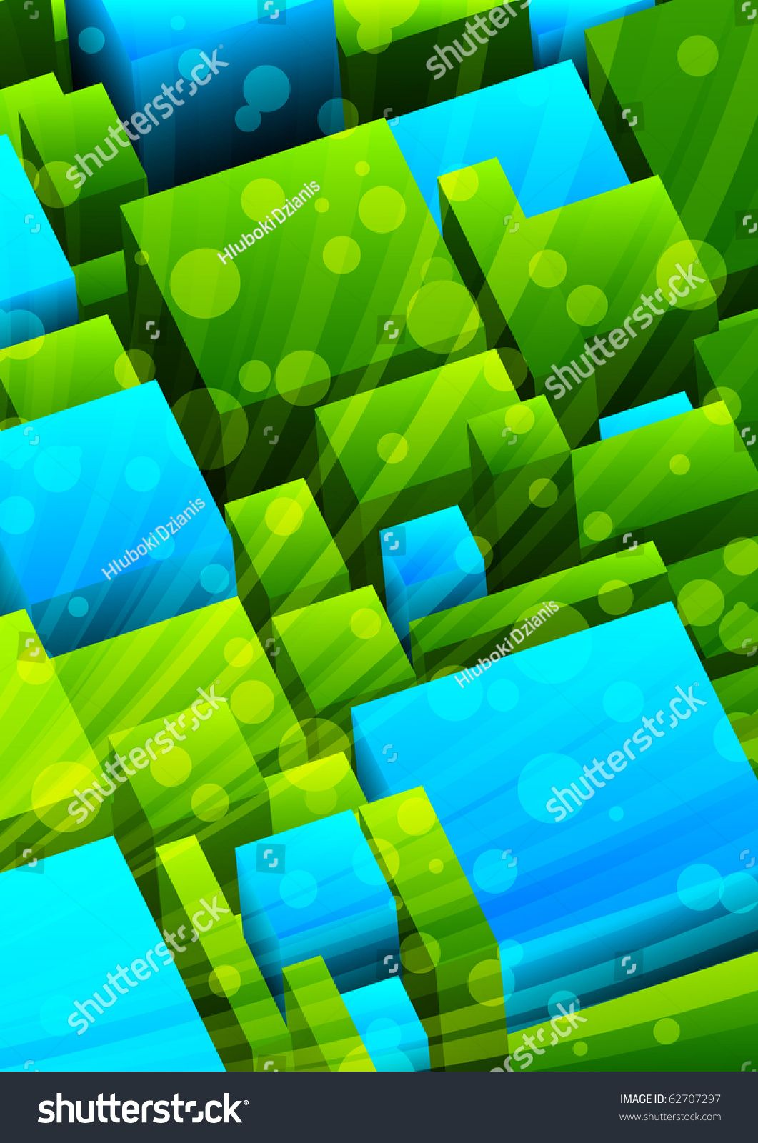 Abstract Background With Green And Blue Cubes Vector Illustration