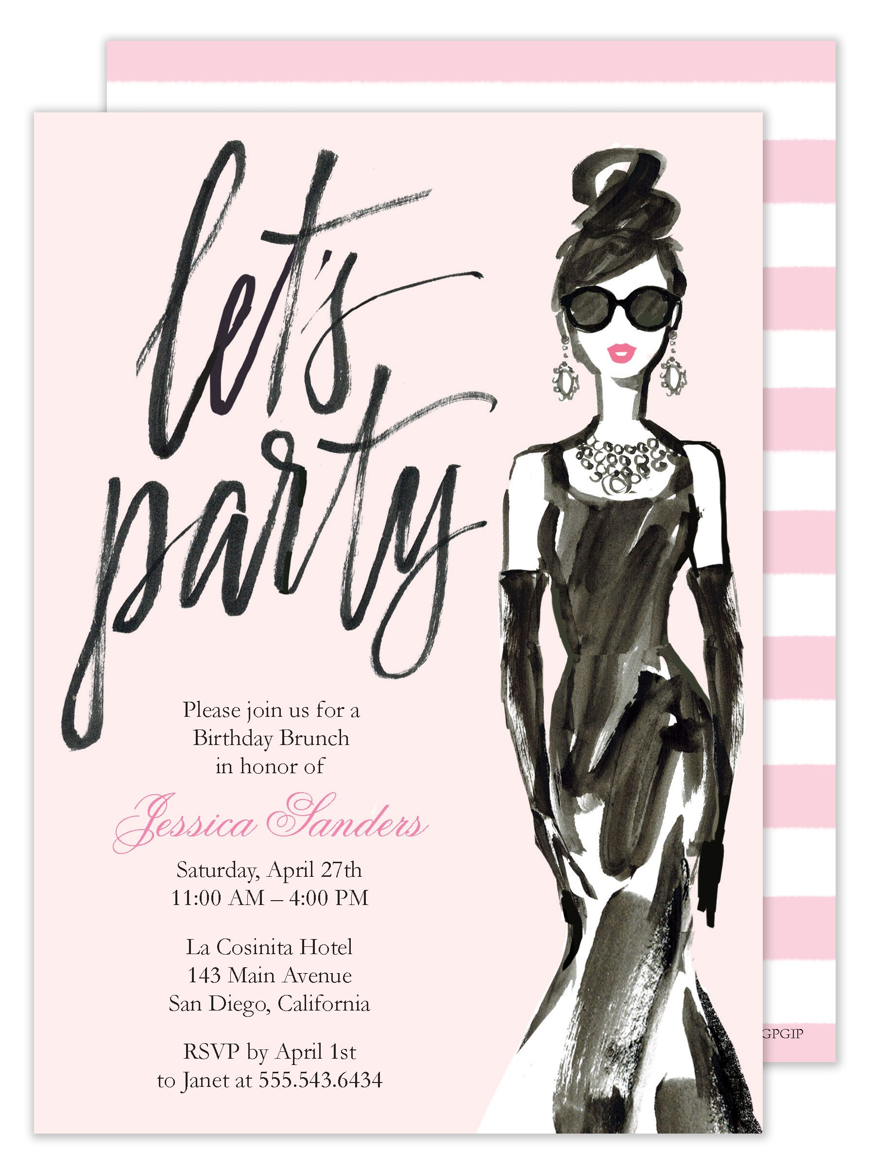 Glamorous Party Girl Invitation Party invitations