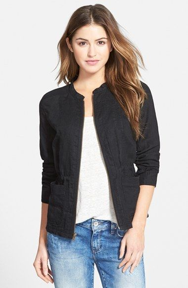 1cd416c74a3 Caslon® Linen Utility Jacket (Regular   Petite)
