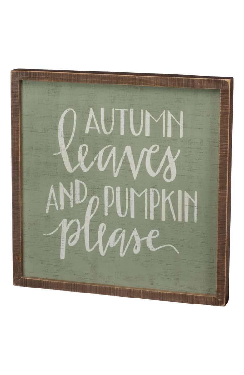 Autumn leaves inset box sign main color green box