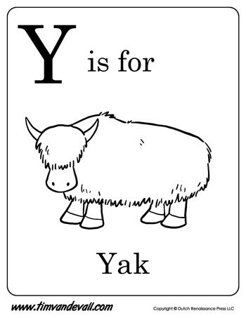 Y is for Yak Letter Y Coloring Page Alphabet Book Black