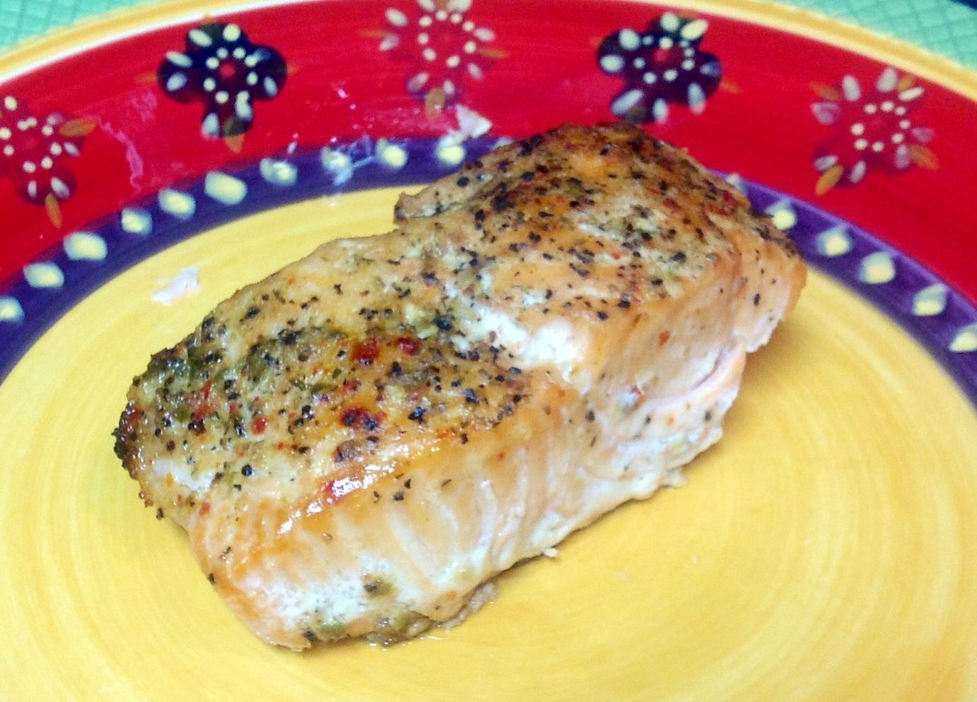 California garlic Medley seasoned Salmon baked in the oven.  Awesome