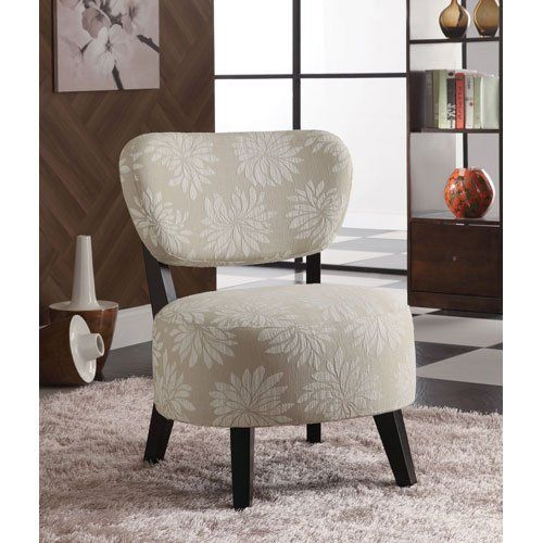 Coaster Accent Chair With Light Floral Pattern In Dark Brown Wood Legs  Coaster Home Furnishings