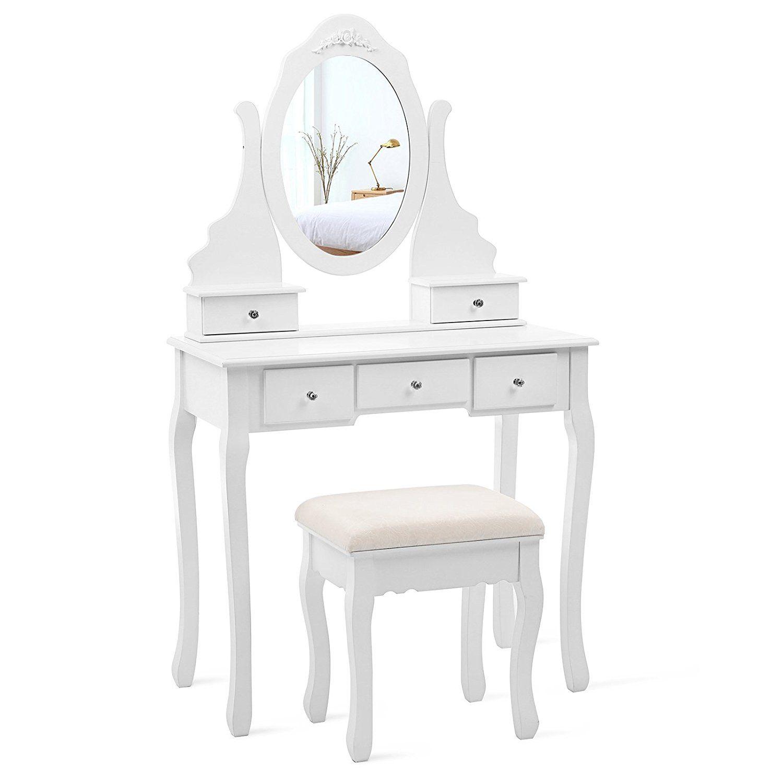 Dressing Table 5 Drawer Makeup Desk Dresser Stool White Black Mirror Bedroom UK