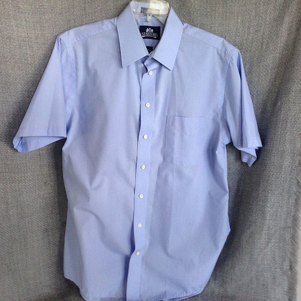 Stafford Mens Size 155 Blue Short Sleeve Shirt Medium Stafford