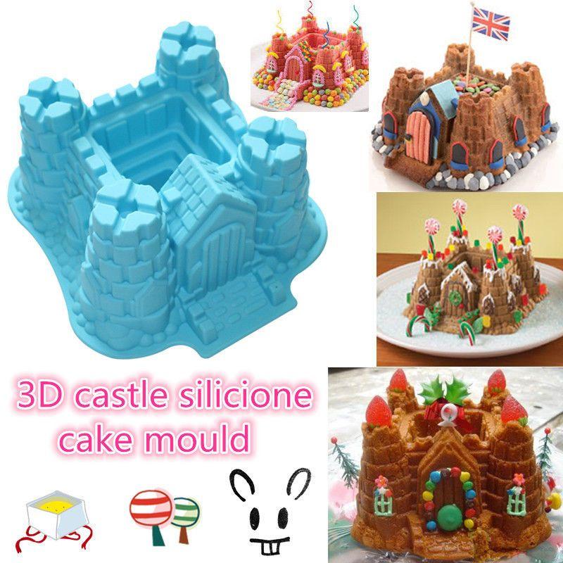 Wedding DIY Castle Cake Decoration Mold Silicone Moulds Fondant Baking Mould