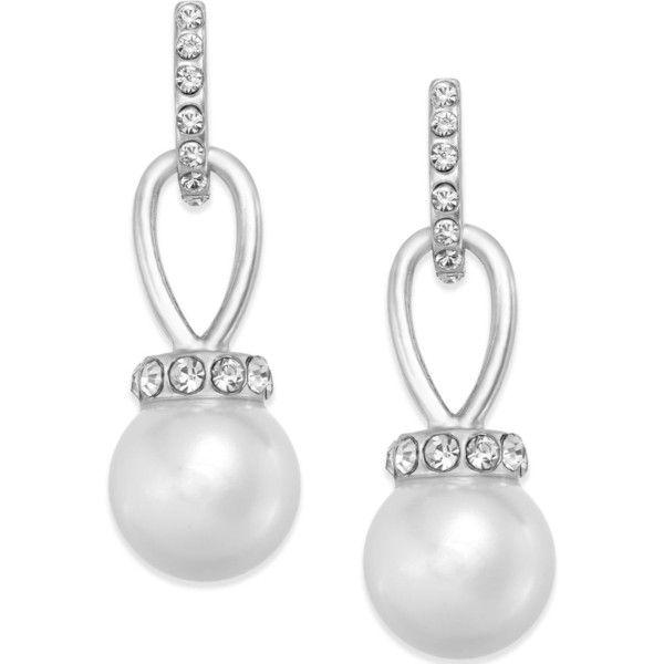 Pave CZ /& Pearl Drop Earrings Pave Round Shape Earrings Elegant Pearl Earrings with Evil Eye.