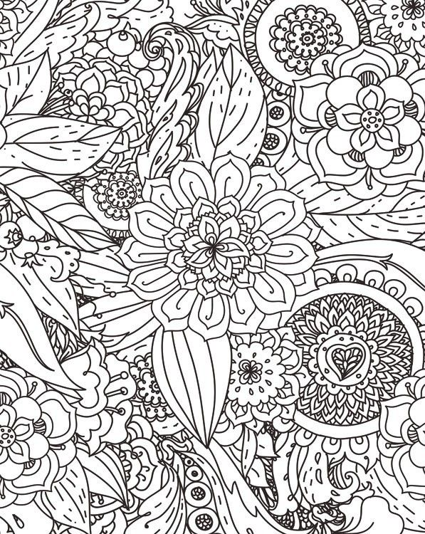Trends Intl Black White Floral Coloring Journal Coloring Journal Coloring Books Coloring Pages