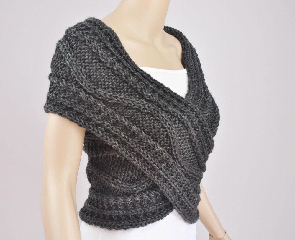 Hand knit vest cross sweater capelet neck warmer in charcoal hand knit vest cross sweater capelet neck warmer in charcoal dark grey bankloansurffo Choice Image