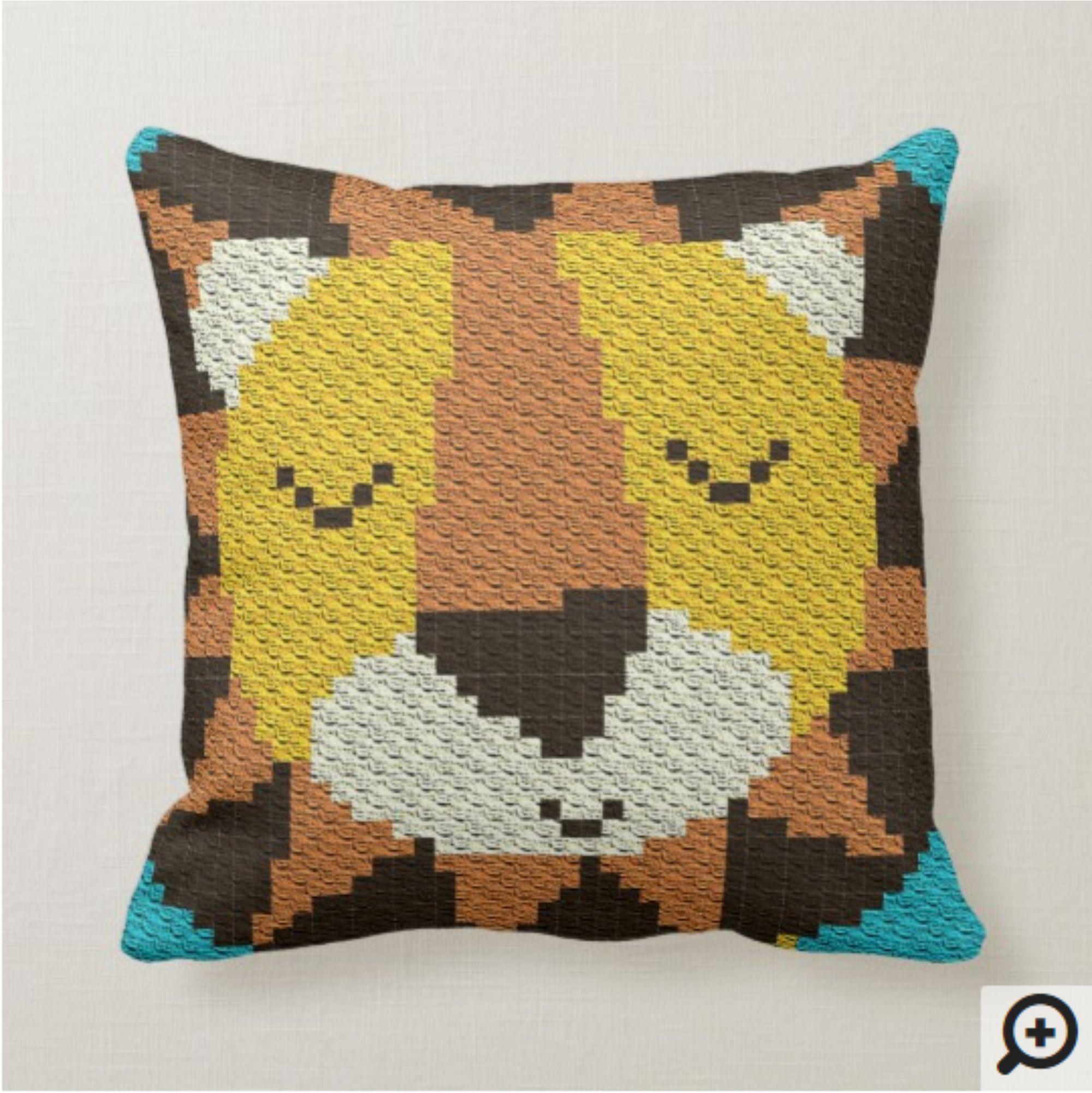 C2C Lion / C2C Pillow Pattern / Pillow Crochet Pattern / Animal Pillow Case / Pillows / Cushions / Cushion