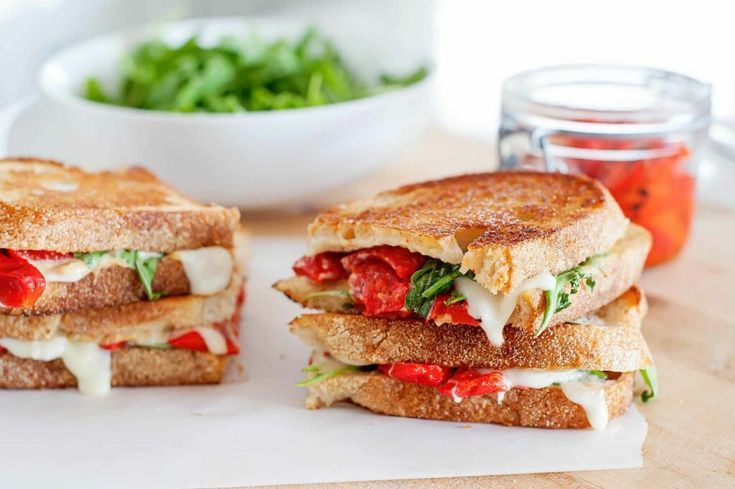 Photo of Grilled Cheese Sandwich with Mozzarella, Red Peppers, and Ar…