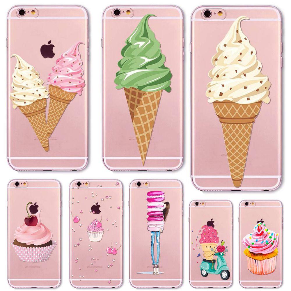 전화 case 커버 iphone 6 6 s plus 5 5 초 5c se 4 4 초 클리어 소프트 실리콘 도넛 마카롱 아이스크림 피자 휴대 전화 가방