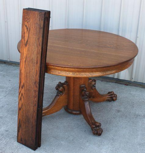 1900 10 MARKED NEWARK OHIO OAK CLAWFOOT LION HEAD DINING ROOM TABLE