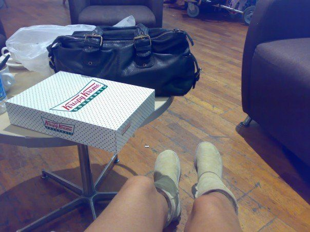 979f1a307b9 Waiting in Sydney Airport in my UGGS & a box of Krispy Cream Donuts ...