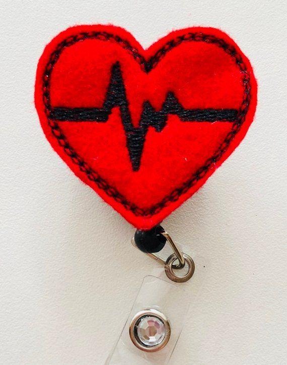 Heart Badge Reel, ID Badge Reel, Badge Reel, Nurse Badge