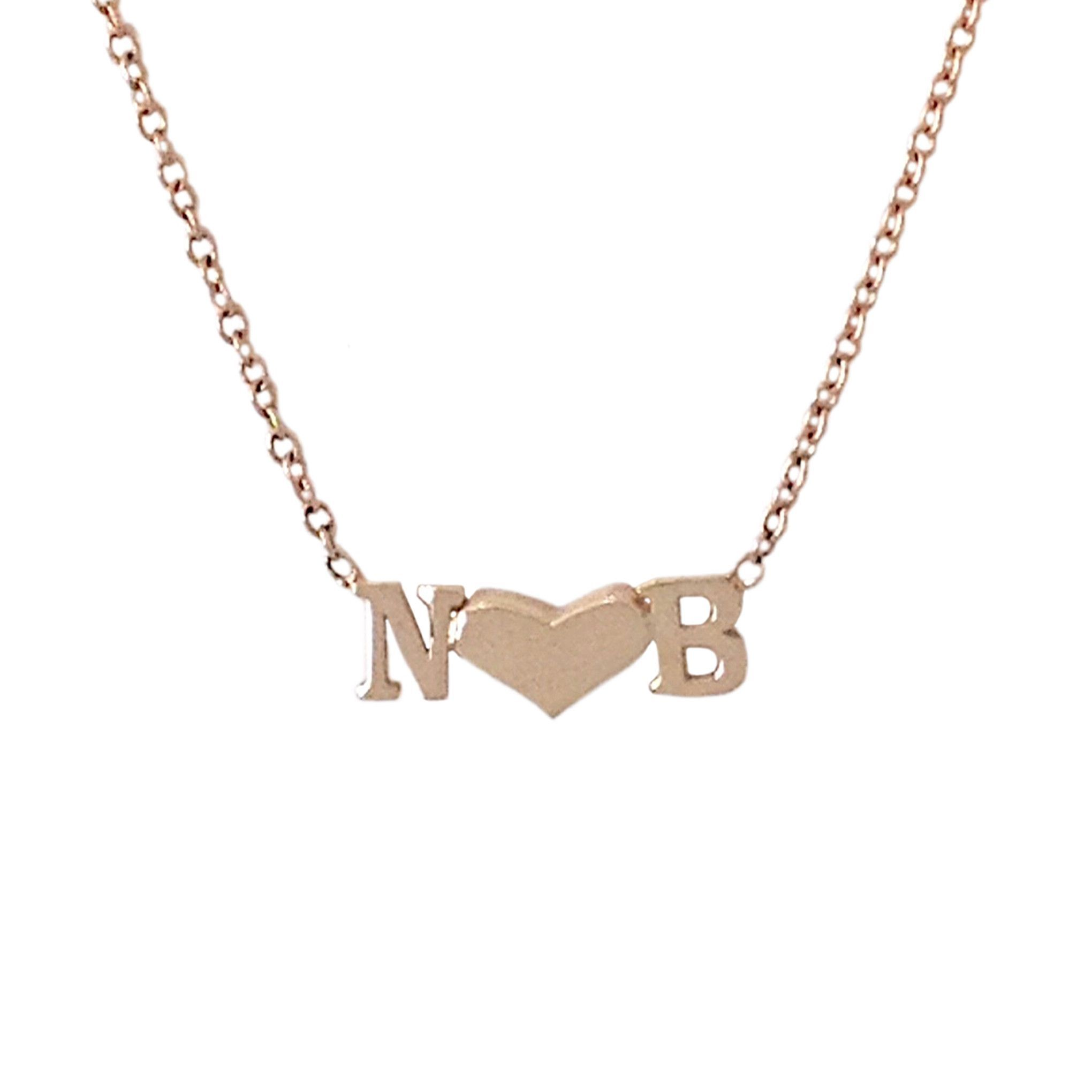 14k gold double initial sweetheart charm pendant necklace 14k gold double initial sweetheart charm pendant necklace mozeypictures Images