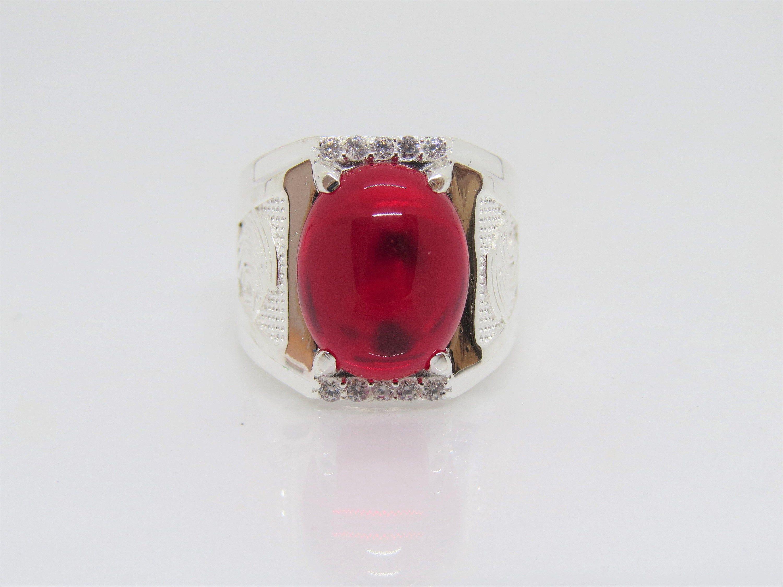 Vintage Sterling Silver Oval Garnet /& White Topaz Men/'s Ring Size 9