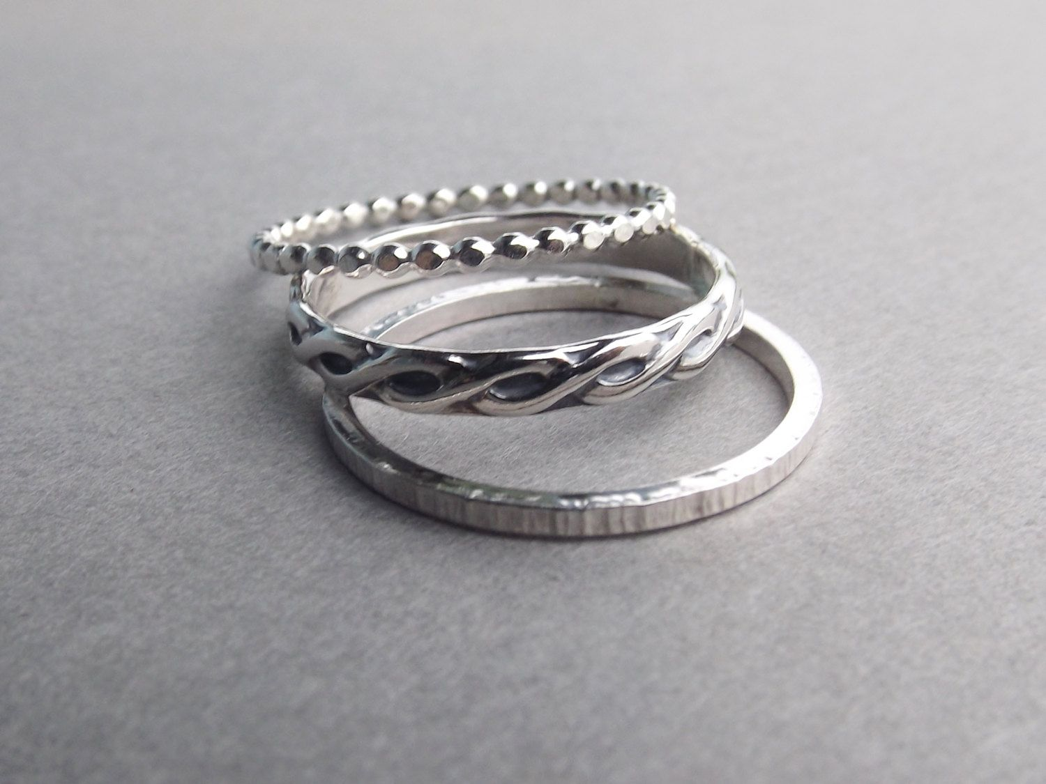 Thick Boho Moden Design Tri Textured Ring Set by FULLMOONJEWELLERY ...