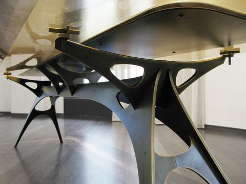 Face Design + Fabrication: Log.  Custom Bronze & Cast Resin Dining Table