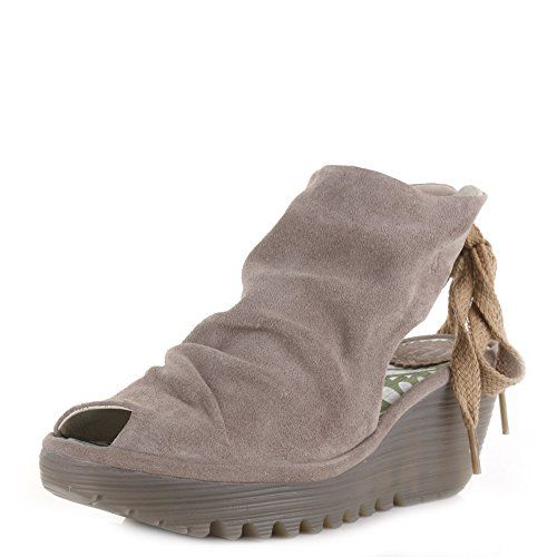 a00b93bd1e Womens Fly London Yame Oil Suede Taupe Wedge Heel Peep Toe Shoes SIZE 6 Fly  London