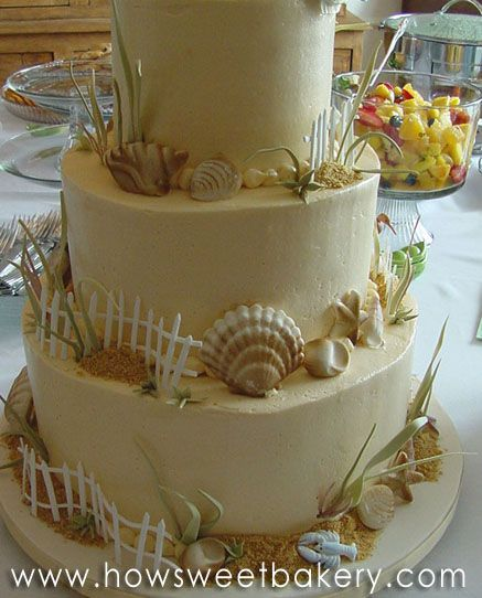Three Tiered Cape Cod Wedding Cake With Sugar Paste Sea Shells S Gres And