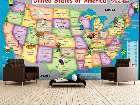 Self Adhesive Peel And Stick Wall Mural Wallpaper By 4kdesignwall Maps For Kids United States Map States In America