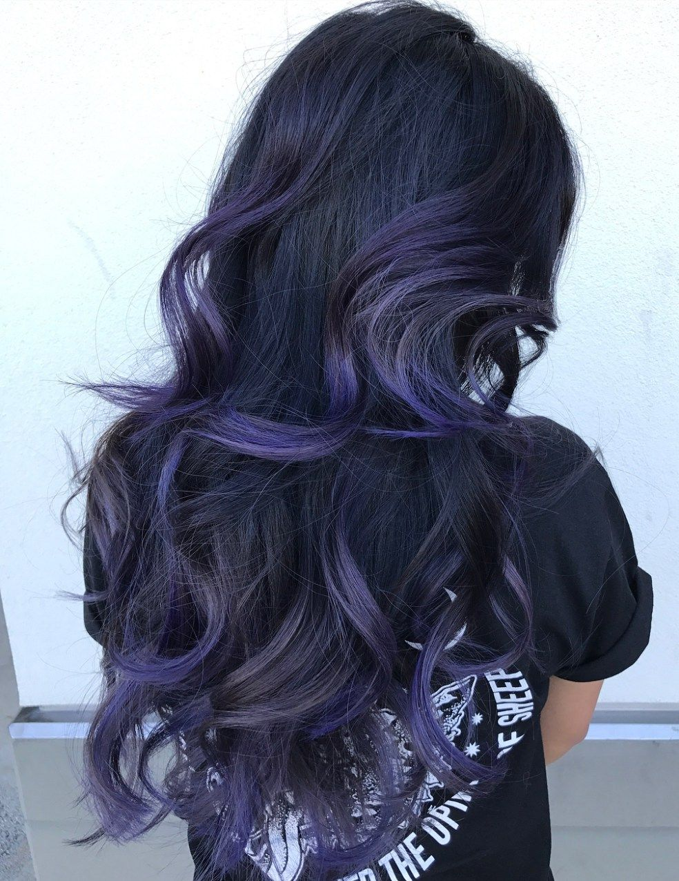 Purple Blue Balayage For Black Hair Hair Color For Black Hair Black Hair Balayage Purple Balayage