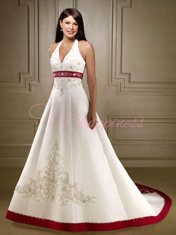 A Line Halter Top Wedding Dress