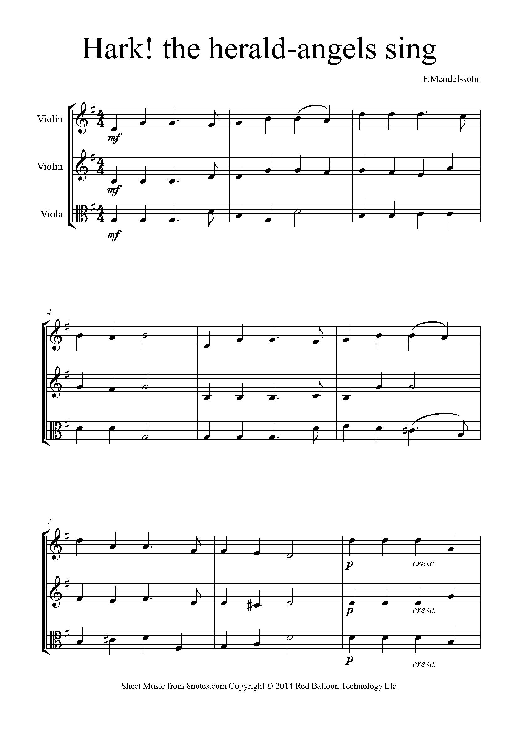 Mendelssohn Hark The Herald Angels Sing Sheet Music For 2