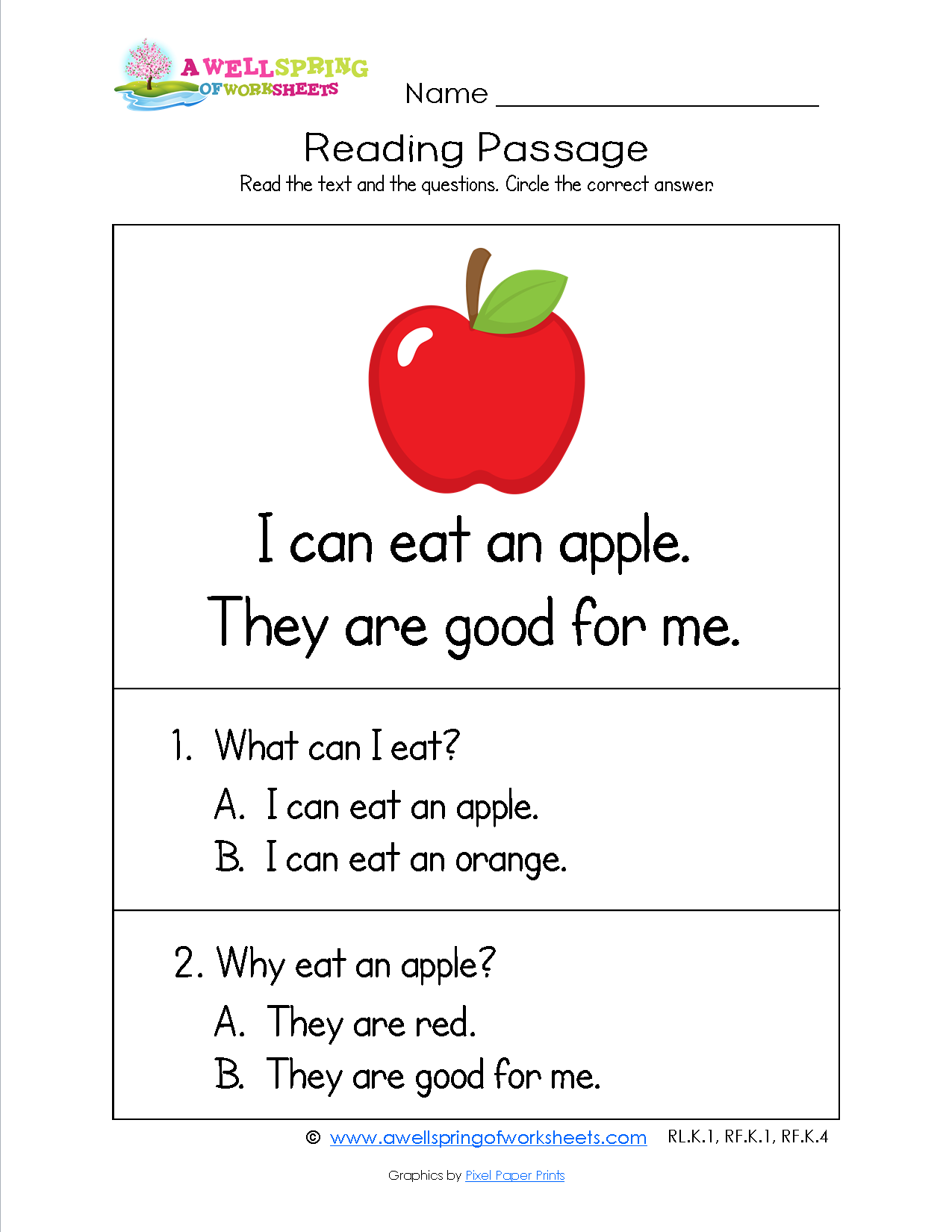 Grade Level Worksheets Reading passages, Kindergarten