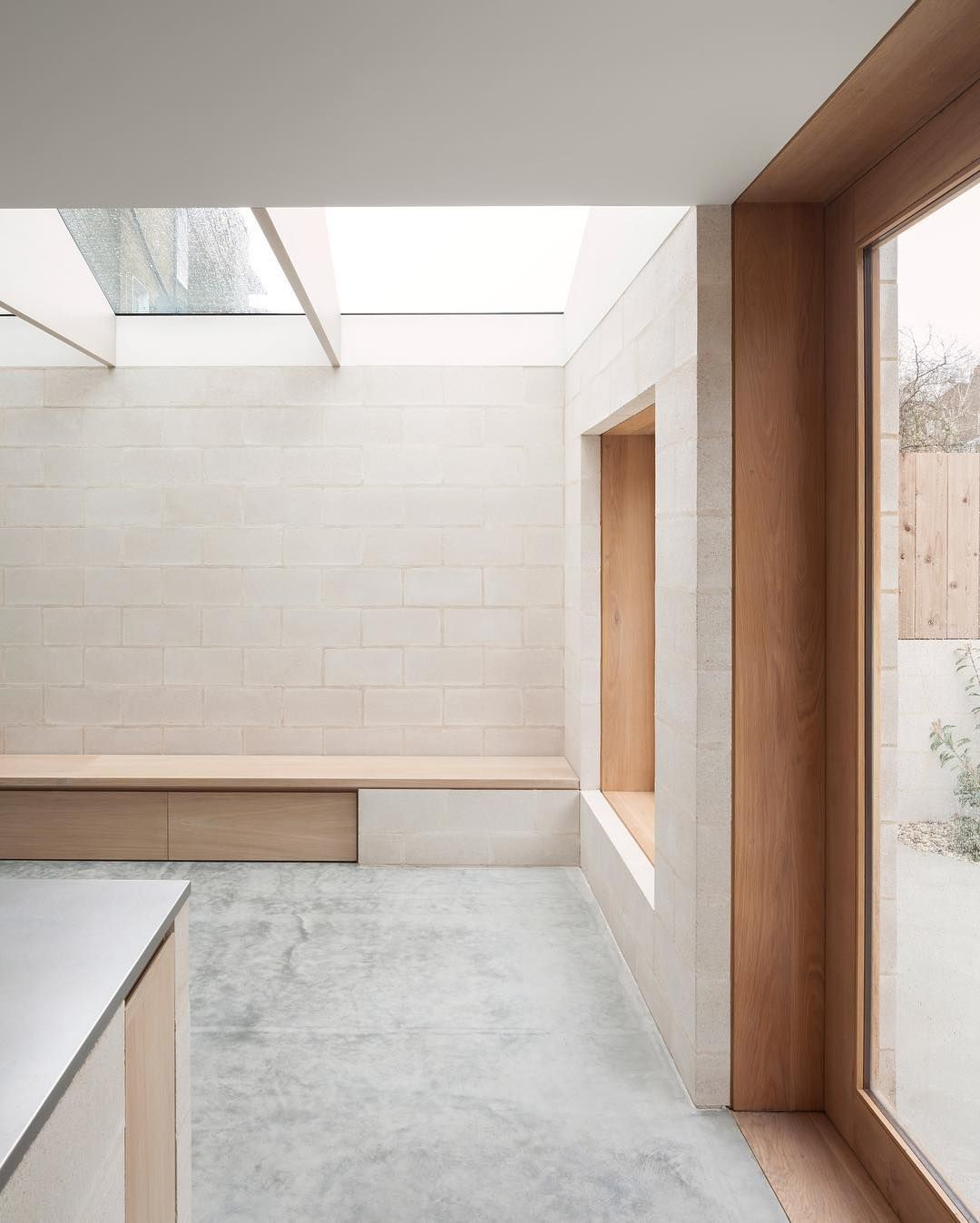 Aljawadpikes extension of a victorian house in peckham london how beautiful is the exposed pigmented concrete blockwork like very