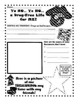 Here is a fun Red Ribbon Week activity to go with a pirate