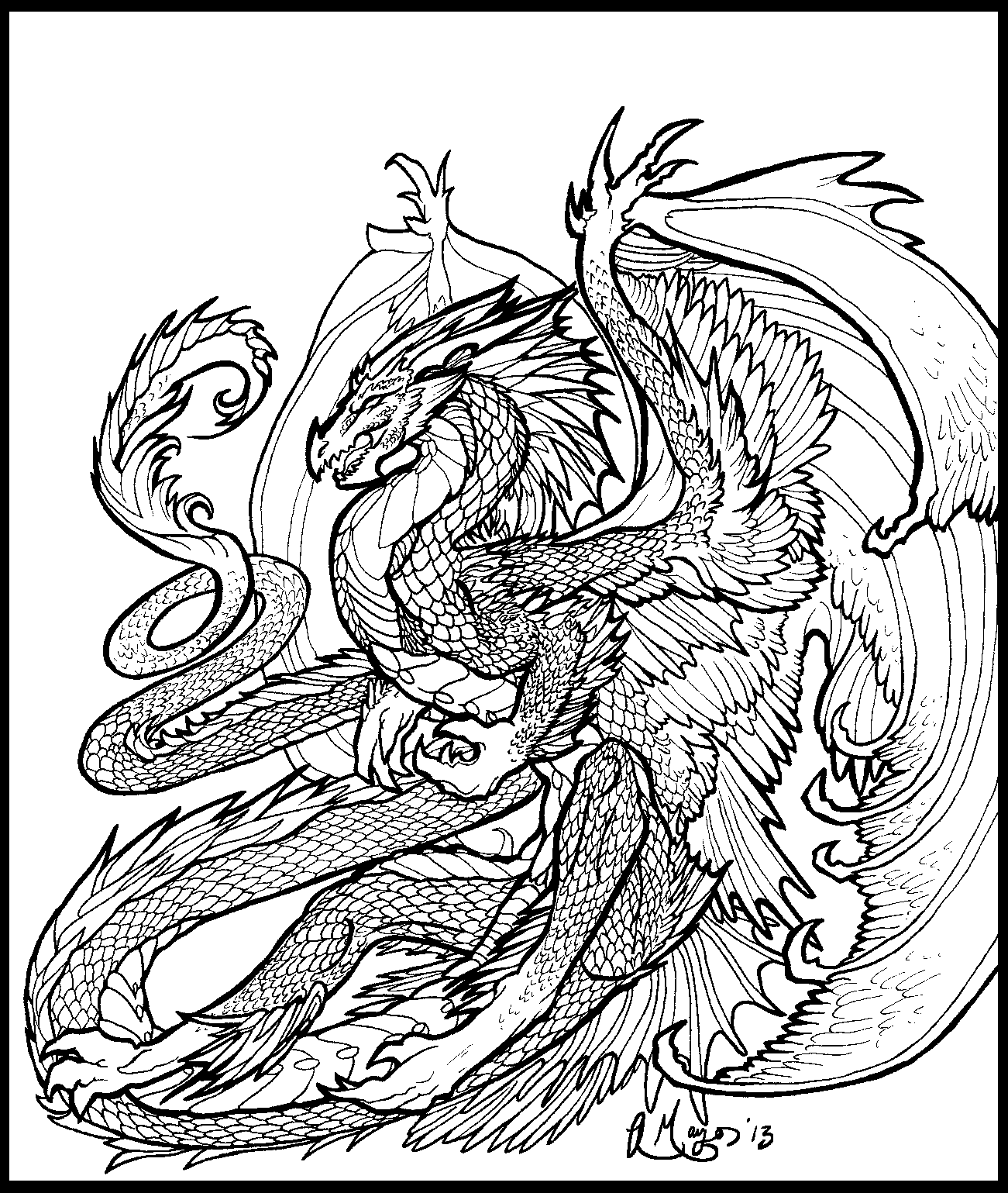 Dragon Dance 01 lineart by rachaelm5.deviantart.com on